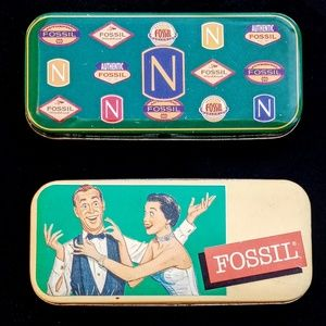 Vintage FOSSIL Metal Watch Cases(2)